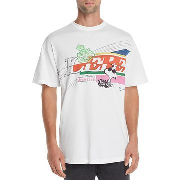 Iceberg Mens Snoopy Graphic T-Shirt Printed Short Sleeves - White