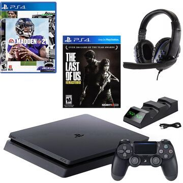 PlayStation 4 Slim 1TB with Madden 21, The Last of Us, and Accessories