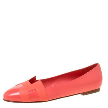 Hermes Coral Orange Leather Nice Ballerina Flats Size 38