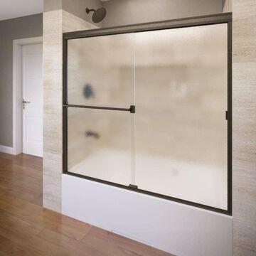 Basco Classic 57-in H x 56-in to 60-in W Semi-Frameless Sliding Oil-rubbed bronze Bathtub Door (Obscure Glass) | 3400A-60OBOR