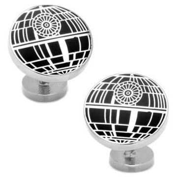 Star Wars Silver-Plated Recessed Matte Death Star Cufflinks