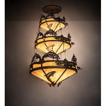 195815 58 in. Wide Catch of The Day Trout 3 Tier Chandelier - Antique Copper Travertine Idal