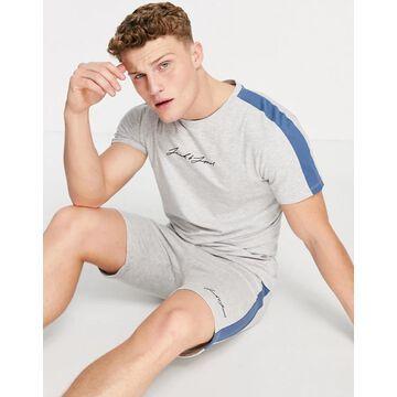 Jack & Jones Originals t-shirt & short set with side stripe in gray-Grey