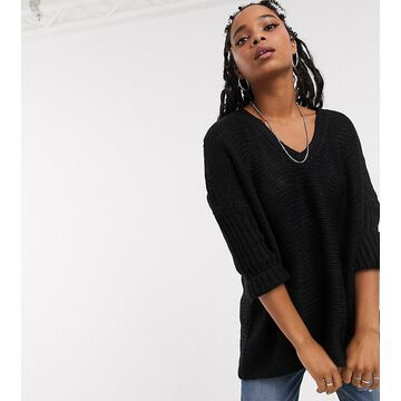 Noisy May oversized v neck sweater-Black