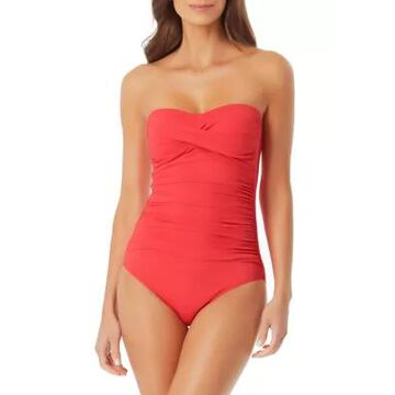 Anne Cole Women's Twist Front Bandeau One-Piece Swimsuit - -