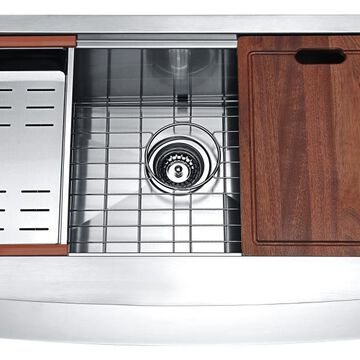 ANZZI Aegis Farmhouse Apron Front 32.875-in x 20.75-in Satin Single Bowl Kitchen Sink All-in-One Kit Stainless Steel | K-AZ3320-1AC