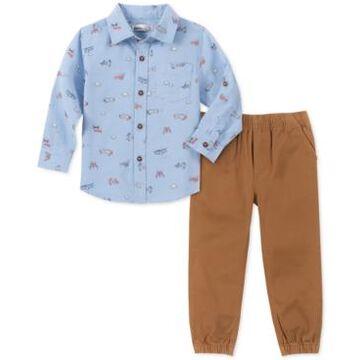 Kids Headquarters Little Boys 2-Pc. Airplane-Print Oxford Shirt & Twill Joggers Set