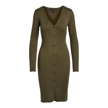 Derek Heart Women's Casual Dresses KALAMATA - Kalamata Green Button-Up V-Neck Sweater Dress - Juniors