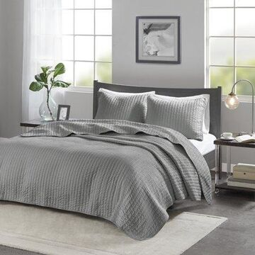 Home Essence Mitchell Reversible Coverlet Set, Gray, Full/Queen