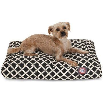 Majestic Pet Bamboo Rectangle Dog Bed Treated Polyester Removable Cover Black Small 27