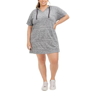 Plus Size Terry Drawstring Hoodie Dress, Created for Macy's
