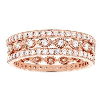 10K Rose Gold 9/10 ct. TDW Diamonds Women's Stacking Band Rings by Beverly Hills Charm