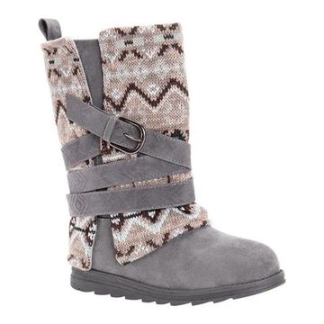 MUK LUKS Women's Nikki Boot Grey Polyester/Synthetic/Acrylic