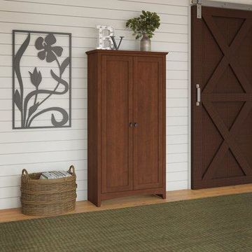 Bush Furniture Buena Vista Tall Storage Cabinet with Doors in Serene Cherry