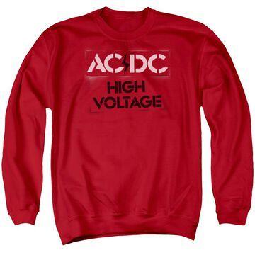 ACDC108-AS-2 ACDC High Voltage Stencil-Adult Crewneck Sweatshirt, Red - Medium