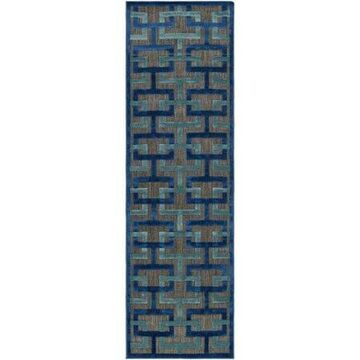 "Art of Knot Felikes Blue 7'6"" Square Modern Geometric Area Rug"