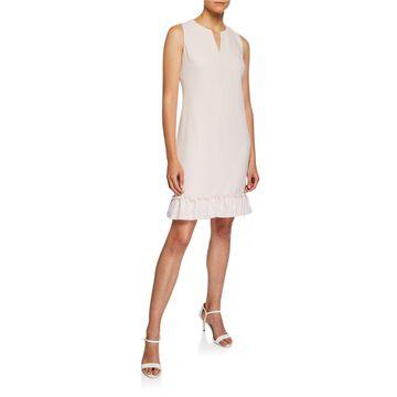 V-Neck Sleeveless Ruffle-Hem Crepe Shift Dress