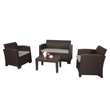 ALEKO Rattan Furniture 4-Piece Outdoor Coffee Table Set Brown