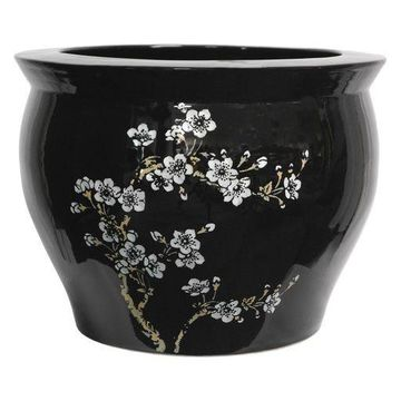''Oriental Furniture Flower Blossom Fishbowl Planter, White, Medium''