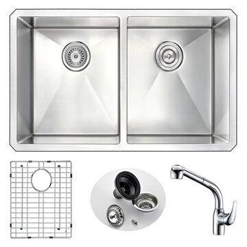 ANZZI Vanguard Undermount 32 In. Double Bowl Kitchen Sink w/ Harbour F