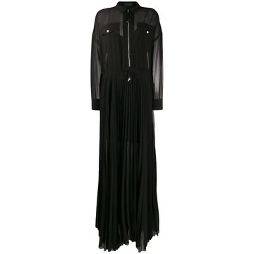 long pleated shirt dress