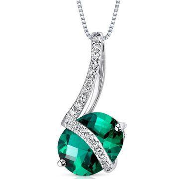 Oravo 14k White Gold Emerald and Diamond Pendant Oval 1.66 carat