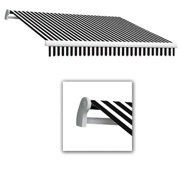 Awntech Maui 216-in Wide x 120-in Projection Black/White Striped Manual Retractable Patio Awning Stainless Steel | MM18-L-KW