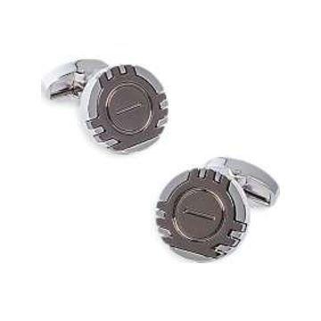 Egara Silver & Gunmetal Geometric Cufflinks