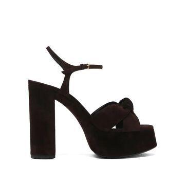 Saint Laurent - Bianca Knotted Suede Platform Sandals - Womens - Dark Brown