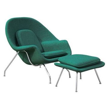 Fine Mod Imports Woom Chair and Ottoman, Green