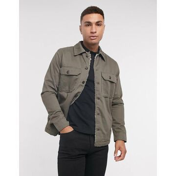 Selected Homme overshirt jacket with sherpa lining in khaki-Green