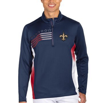 Men's Antigua Navy/Red New Orleans Saints Liberty Quarter-Zip Pullover Jacket