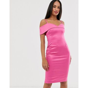 Vesper strappy bardot pencil dress-Pink
