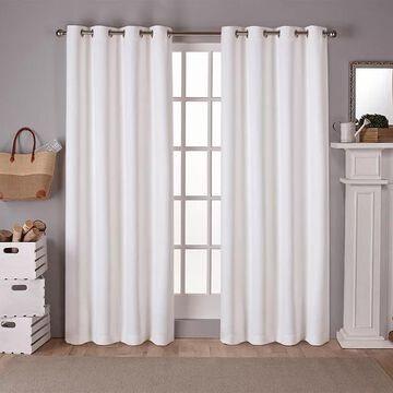 Exclusive Home 2-pack Sateen Twill Woven Blackout Window Curtains, White, 52X108