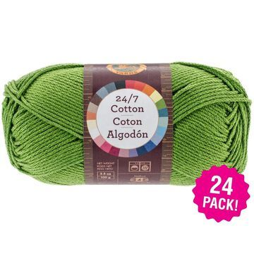 Lion Brand 24/7 Cotton Yarn - 24/Pk-Grass - Green