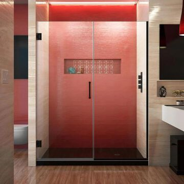 DreamLine Unidoor Plus 72-in H x 57-1/2-in to 58-in W Frameless Hinged Satin Black Shower Door (Clear Glass) | SHDR-245757210-09