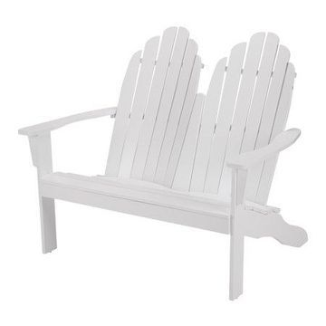 Mainstays White Solid Wood Double Adirondack Bench