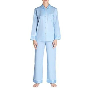 Natori Cotton Satin Notch Pajama Set
