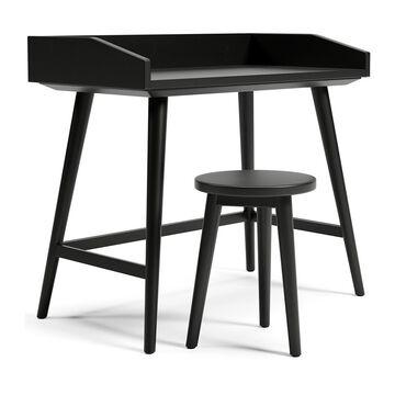Signature Design by Ashley - Blariden Black Enclosed Ledge Desk with Stool Set