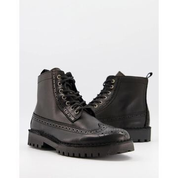 Selected Homme leather brogue boots in black