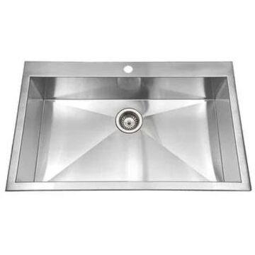 "Houzer BLS-3322 Bellus 33"" Single Basin Drop In 18-Gauge Stainless - Stainless Steel"
