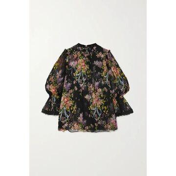 Needle & Thread - Metallic Floral-print Fil Coupe Chiffon Blouse - Black