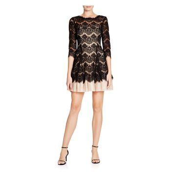 BETSY & ADAM Womens Black Lace 3/4 Sleeve Jewel Neck Mini Fit + Flare Prom Dress Size: 2