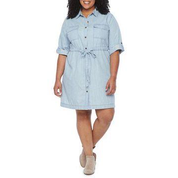 a.n.a Womens 3/4 Sleeve Shirt Dress Plus