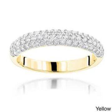 Luxurman 14k Gold 1ct TDW Thin Diamond 3-row Ring