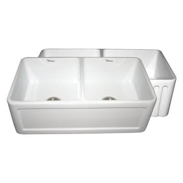 Reversible Series Double Bowl Fireclay Sink, White