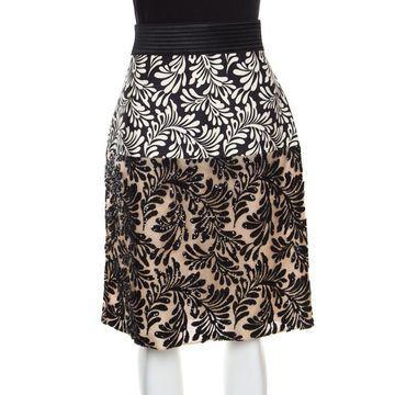 Emanuel Ungaro Monochrome Foliage Print Sequin Embellished Skirt M