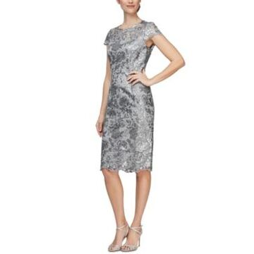 Alex Evenings Sequin Lace Sheath Dress