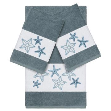Authentic Hotel and Spa Teal Blue Turkish Cotton Starfish Embroidered 3 piece Towel Set