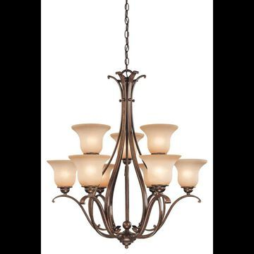 Vaxcel Lighting CH35409 Monrovia 9 Light Two Tier Chandelier with Frosted Glass Shades - 31 Inches Wide Royal Bronze Indoor Lighting Chandeliers
